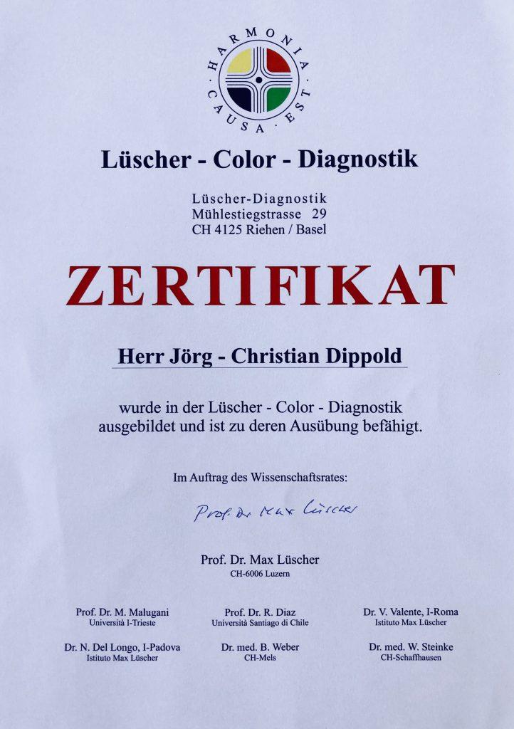 Lüscher Color – Zertifikat Jörg-Christian Dippold